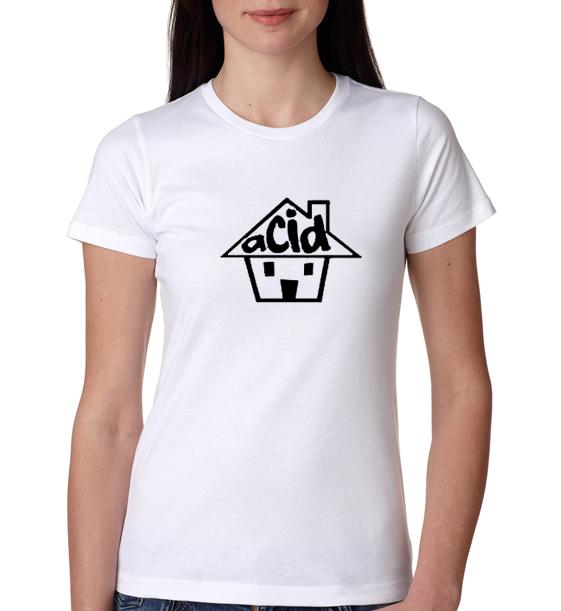 ACID HOUSE DJ club music dance rave retro Womens Tshirt 1220V